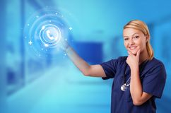 Person touching clinic call center concept. Doctor touching blue screen with call center concept vector illustration