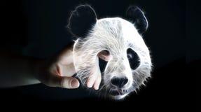 Person touching fractal endangered panda illustration 3D renderi Stock Images