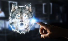 Person touching fractal endangered wolf illustration 3D renderin. Person touching with his finger fractal endangered wolf illustration 3D rendering Royalty Free Stock Photos