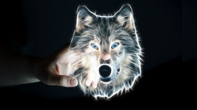 Person touching fractal endangered wolf illustration 3D renderin Stock Photos