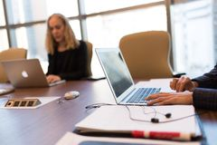 Person Touching Gray Laptop Computer royalty free stock photos