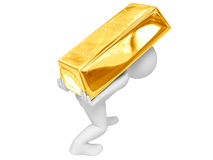 Person tragen Goldbarren Stockfoto
