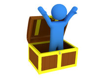 Person with treasure chest. 3d render of person with treasure chest Royalty Free Illustration