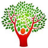 Person tree logo. A person with hands raised make branches and a tree in this logo Stock Photo