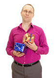 Person with two colorful gifts Stock Photo