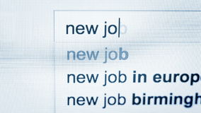 Person types in a request for new job in the internet browser. High Definition Video : 29.97 FPS 9 sec You`ll find our team on CreativePhotoTeam.com site stock footage
