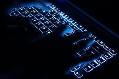 Person Typing On Keyboard - konstnärlig behandling med suddighet och glödeffekt fotografering för bildbyråer