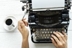 Person Typing Using Typewriter Royalty Free Stock Images
