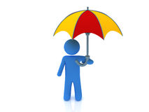 Person and umbrella. 3d render of person under the umbrella Stock Illustration