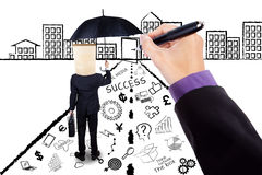 Person with umbrella and business doodles Stock Photography