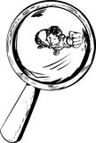 Person Under Magnifying Glass Outline Stock Afbeeldingen