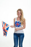 Person with union flag Stock Photo