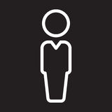 Person, user line icon, white outline sign, vector illustration. Stock Photos