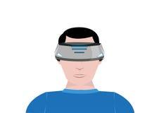 Person Uses un dispositivo di realtà virtuale per gioco del video 360 Clipart editabile Fotografia Stock Libera da Diritti