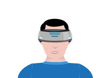 A Person Uses a Virtual Reality device for 360 video gaming. Editable Clip Art. Royalty Free Stock Photo