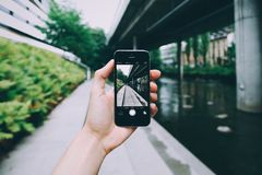Person Using Camera of Space Grey Iphone 6 Royalty Free Stock Photos
