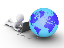 Person is using a computer connected to the world. 3d person is using a laptop and the globe is connected to it Stock Photography