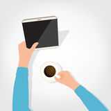 The person using the digital tablet ipad style. Blank coffee Stock Photos