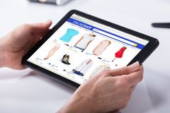 Person Using Digital Tablet stock photo