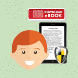 Person using an electronic book design. Illustration eps10 graphic Royalty Free Stock Images