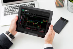 Person using Forex trading software Stock Image
