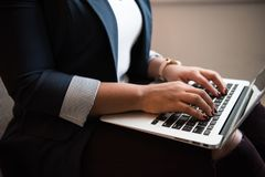 Person Using Macbook Air royalty free stock images