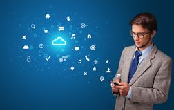 Person using phone with cloud technology concept stock illustration