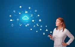 Person using phone with cloud technology concept stock photography