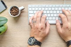 Person Using Silver Apple Magic Keyboard Beside of White Ceramic Mug With Coffee Beans Royalty Free Stock Photos