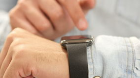 Person Using Smartwatch, Close Up stock video footage
