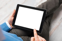 Person using tablet computer. With blank screen Royalty Free Stock Photo