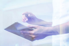 Person using tablet device Royalty Free Stock Photo