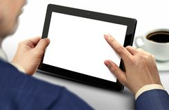Person using tablet touch screen pc Royalty Free Stock Photos