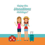Person on vacations holidays. Vector illustration design Stock Images