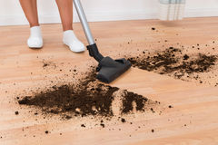 Person With Vacuum Cleaner Cleaning Floor Stock Images
