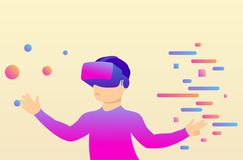 Person in virtual reality glasses moves objects. Stock Image
