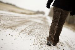 Person Walking Along Road Royalty Free Stock Photography