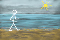 Person walking at the beach. Drawing of a stick figure out of chalk at a blackboard showing a person at the shore having a walk at the beach besides the sea Royalty Free Stock Images