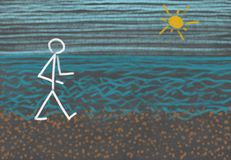 Person walking at the beach. Drawing of a stick figure out of chalk at a blackboard showing a person at the shore having a walk at the beach besides the sea Stock Photos