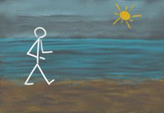 Person walking at the beach. Drawing of a stick figure out of chalk at a blackboard showing a person at the shore having a walk at the beach besides the sea Royalty Free Stock Photography
