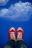 Person Walking On Clouds novo Fotografia de Stock