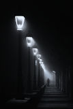 Person walking on dark street illuminated with streetlamps Royalty Free Stock Photography