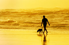 Person walking the dog on beach Royalty Free Stock Images