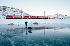 Person walking dog on frozen lake Stock Images
