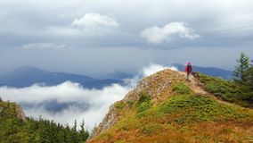 Person walking in mountain Stock Photography