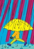 Person Walking in pioggia Fotografia Stock Libera da Diritti