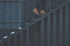 Person Walking on the Stairs Royalty Free Stock Photography