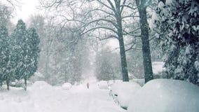 Person Walks On Road In häftig snöstorm lager videofilmer