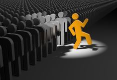 Person wants to stand out from the crowd Royalty Free Stock Photography