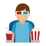 Person watching 3d movies Royalty Free Stock Image